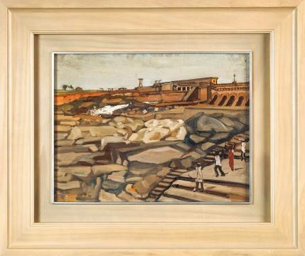 常书鸿 《修建中的印度水库》 53×41cm 木板油画 1959  成交价:120.75万元