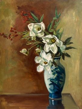 倪贻德 《瓶花》 40×53cm 木板油画 1960成交价:66.7万元,由艺术家徐累在场内举牌竞得