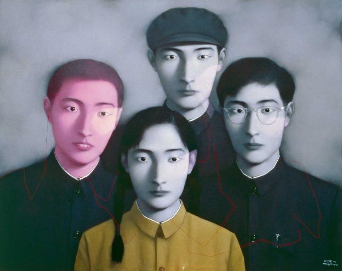 张晓刚 《血缘:大家庭二号》 150×190cm 布面油画 1995  以3818万元成交于北京匡时2016秋拍
