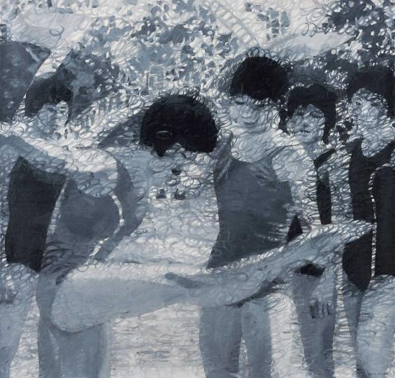 岳敏君《处理-6》 200×210cm 布面油画 2002  以109.25万元成交于北京匡时2016秋拍
