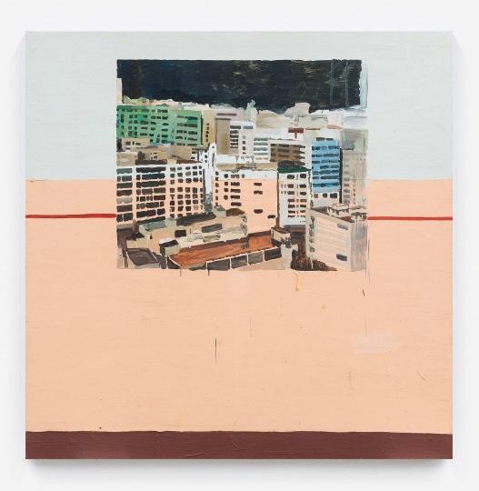 仇晓飞《塔楼》 200×200cm 布面油画 2010  以86.25万元成交于北京匡时2016秋拍