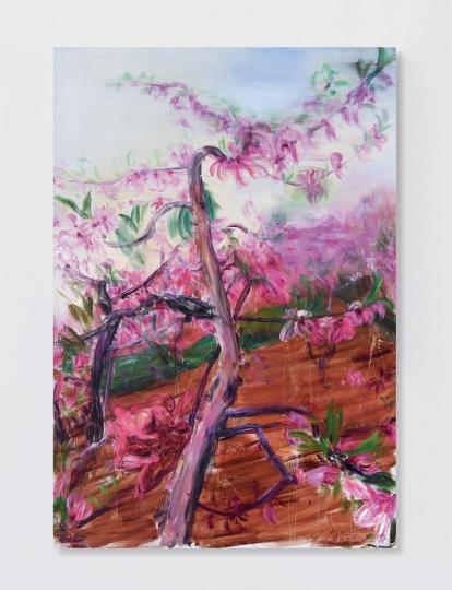 """周春芽 《桃花》 320×220cm 布面油画 2006  以805万元成交于北京匡时2016秋拍      Hi:谁会是中国艺术市场上当代艺术版块的""""磐石"""",是中国艺术,还是亚洲艺术,或者西方艺术?  谢:这点我赞同李苏桥先生的看法,没有绝对的哪一类型或是哪一地域的作品会成为""""磐石"""",只有最好的艺术家或是最有价值的作品才是""""磐石"""",还有不断扩大的坚实购买力和真正的收藏家群体才是构成这个市场大而不倒的根本。"""