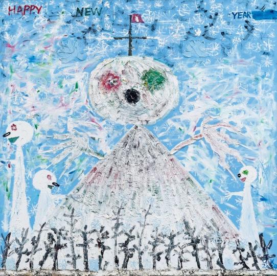 欧阳春 《圣诞卡》 210×210cm 布面油画 2004  以41.4万元成交于北京匡时2016秋拍