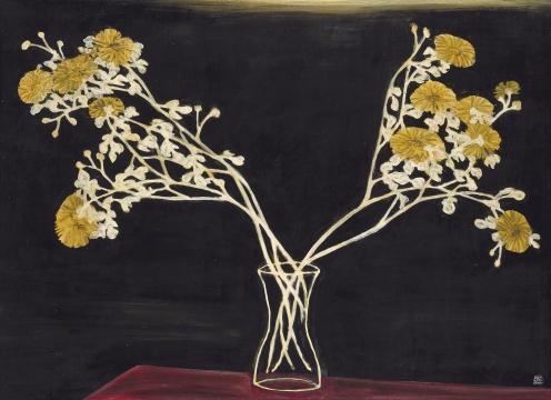 常玉 《瓶菊》 91.6×125cm 油彩、纤维板 1950年代  成交价:1.0358亿港元(刷新艺术家同题材作品拍卖纪录,目前为艺术家成交价第二高)