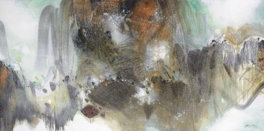 朱德群 《雪霏霏》 200×200cm 油彩画布 1990-1999  成交价:9182万港元(刷新艺术家个人拍卖纪录)