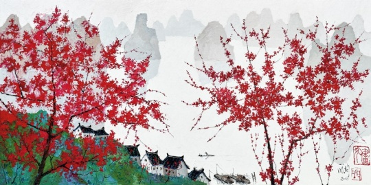 庞均 《花间渔舟》 100×200cm 油彩画布 2016  成交价:96.76万港元