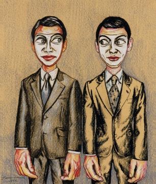 曾梵志 《面具系列》 16.5×14cm 彩色铅笔、蜡笔、纸本 1999  成交价:73.16万港元      匡时香港