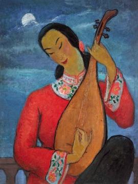 潘玉良 《月夜琴声》 73×54.5cm 布面油画 1950  成交价:1085.6万港元 由龙美术馆王薇竞得