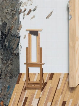 """黄一山 《画架》 80×60cm 油彩、综合材料、木板 2015  成交价:11.8万港元    今年是匡时拍卖的第十年,除了公司上市外,首度开辟香港市场也是匡时今年的又一大亮点。匡时香港选择以三个专场作为首度在香港的亮相,分别是中国书画、古董珍玩和现当代艺术专场。这三场共创下了2.06亿成交额,北京匡时国际拍卖有限公司董事长董国强表示:""""现当代总体来说不太理想,主要是规模太小,没有吸引到行业内广泛的关注;另一方面初次进入香港,我们现当代部门的团队还没有正式建立起来,我们目前最需要的也是打造香港的团队……当代艺术要是在香港站住脚跟,我认为还任重道远。"""""""