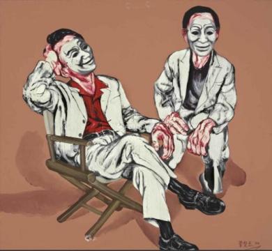 佳士得夜场:曾梵志 《面具系列:第四号》 186×180cm 油彩画布 1994  流标(2011年香港蘇富比曾以1690万港元成交