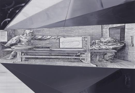 导览 《丢勒》130×190cm 布面丙烯、马克笔、粉笔2016