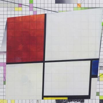 导览 《蒙德里安》布面丙烯、马克笔、彩铅、蜡笔140×140cm 2016