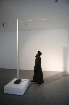向京来到展览现场观看蔡磊作品