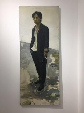 于瀛 《写生男青年》 173.5×70cm 布面油画 2015