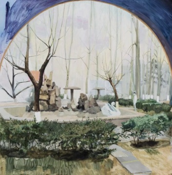 苑瑗 《北京某街边花园》 100x100cm 木板油画 2015