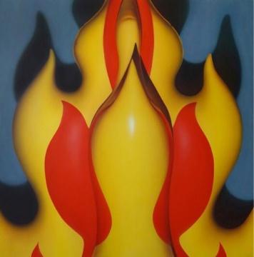 孙一钿 《没有温度的火》183x183cm 布面丙烯 2016