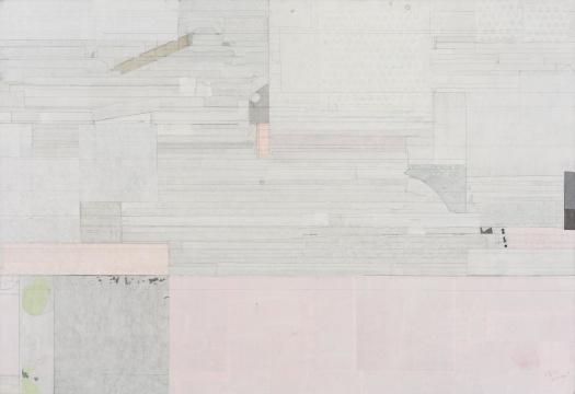 梁铨 《梅林-村之一》100x147cm 色、墨、宣纸拼贴于亚麻布 2010-2011