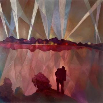 王顷 《湖光》100×100cm 布面油画 2015