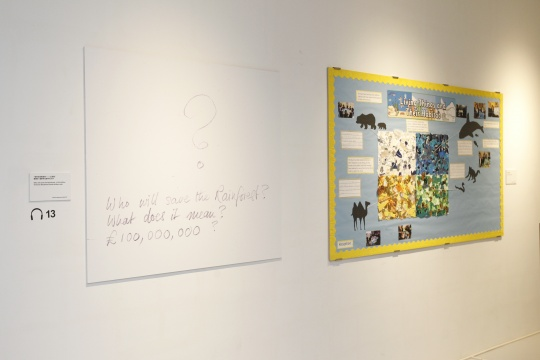 """""""谁将会拯救雨林——1亿英镑""""薇薇安·威斯特伍德手写文字(左)及小学生拼贴画(右)"""