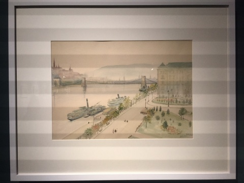 《布达佩斯城市写生》34×47.8cm 水彩 1954