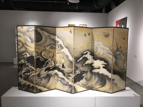 木村了孑 《水禽屏风》 133×264cm 综合材料2013