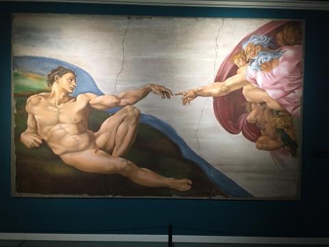 《创世纪-制造亚当》湿壁画临摹