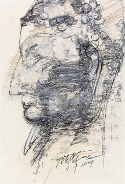 《北齐--佛头》37.3×24.8cm 纸本色粉、铅笔 2004