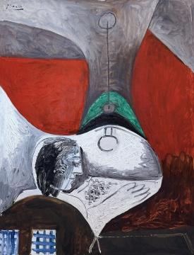 巴勃罗·毕加索《灯下的女人(杰奎琳)》 116.2×88.9cm 布面油画 1962  成交价:5865万