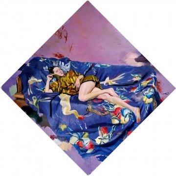 刘小东 《蓝色桃子》 282×282cm 布面油画 2011  成交价:446.2万元    部分明星艺术家成交状况:
