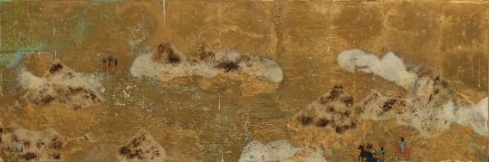 胡·赛额尼斯 《望经-辞冬之六》40X120cm 木板坦培拉综合材料 2014