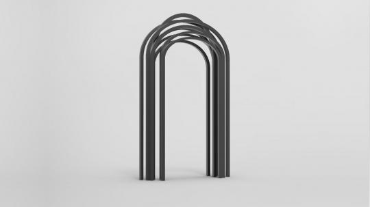 周一然《九重门》228x108x400cm 钢管、漆 2016