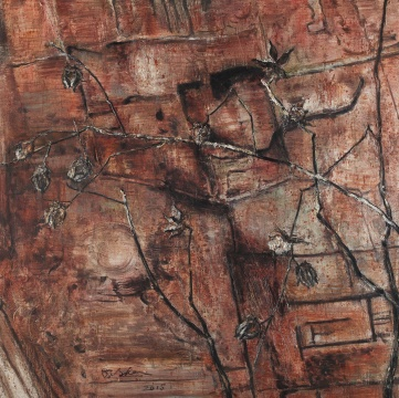 葛震 《微言(之九)》100x100cm 布面油画 2015