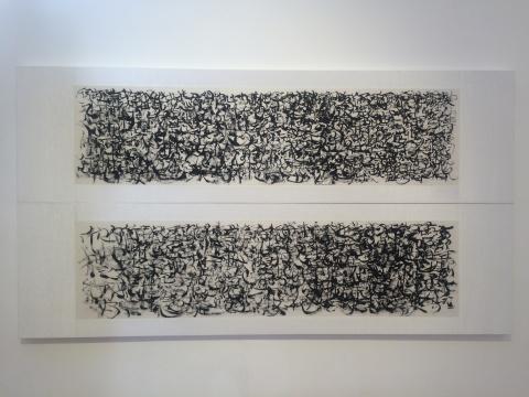 陶艾民 《鸟书55》、《鸟书57》 139×35cm×2 旧宣纸 墨 丙烯银 2016