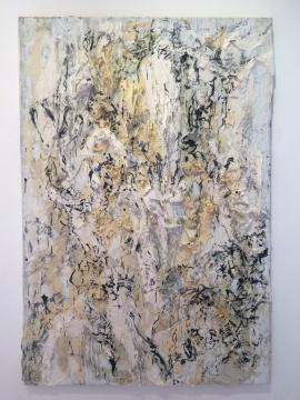 《书山37号》 150×220cm 旧宣纸 墨 丙烯银 2016