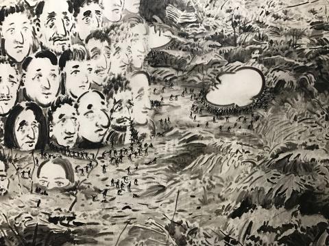 《黑色的光No.4》(局部) 190×250cm×4 布面油画 2016