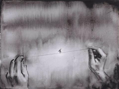 《走绳索的人No.1》23×31cm纸本油画 2016