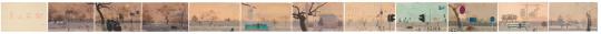 《 景山前街》 62.5x1150cm纸本丙烯、油画棒 2017