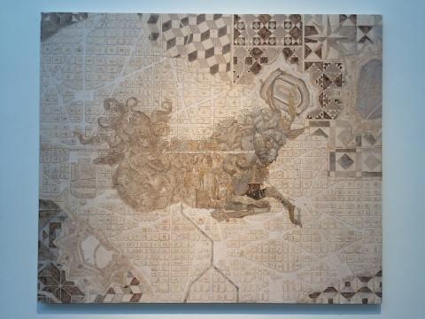 王挺宇 《钍骼之城》 200×169cm 压克力 金箔 银箔 画布 2017