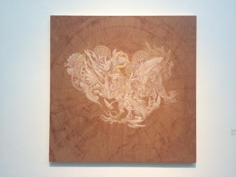 王挺宇 《极向离明》 145×145cm 压克力 金箔 画布 2017