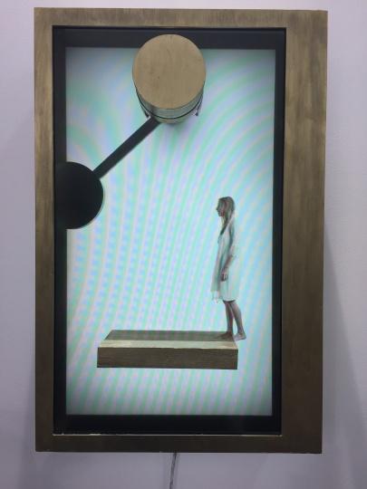 Marck的录像装置作品,售价2.5万美元     芳草地画廊(香港)在本届Art Central依然主推合作艺术家,如由金、毛栗子,同时芳草地画廊带来了一张博特罗的《Toilette》,售价85万美元,是该画廊带来的价格最高的作品。