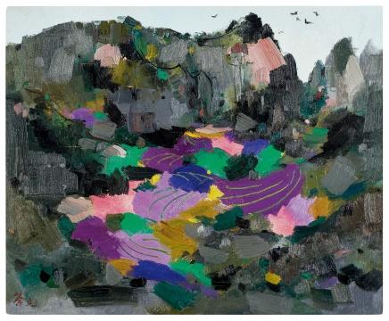 吴冠中《彩谷》 油彩画布50×61.2 cm 1993  成交价:2832万港元