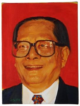 刘小东 《江泽民像》 26.5×20cm 油彩画布 1997  成交价:61.36万港元