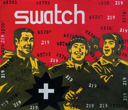 王广义 《大批判系列:斯沃琪》 60.3×70cm 油彩画布 2004  成交价:21.24万港元      抽象板块领军人物丁乙此次也有两件作品上拍,且都在百万阵营内顺利: