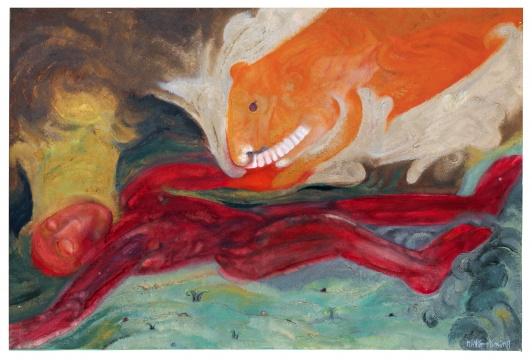 黄宇兴 《饲虎》80×120cm 油彩画布 2003  流标      新绘画板块,还有李杰的《可丽柔》、谢墨凛《叠NO.045;叠NO.050》、秦琦《皮带和乌鸦》有惊无险成交。去年刚在北京保利秋拍创下个人纪录的70后艺术家谢南星也有两件作品上拍,但均无人喝彩;同样70后的袁远、欧阳春,也在香港市场中黯然流标。