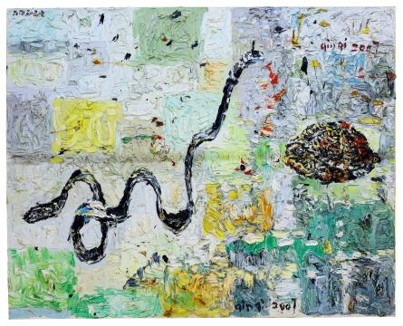 秦琦 《皮带和乌鸦》 160×200cm 油彩画布 2007  成交价:37.76万港元