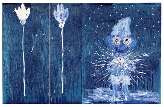 欧阳春 《蓝精灵》(双联作) 146×228cm 油彩画布 2005  流拍      陈可的《高级生活》由于拍卖时电话委托出现故障,因此未能及时成交;拍卖结束后这件作品也并未再次重拍,因此何去何从,仍然是一个问号。