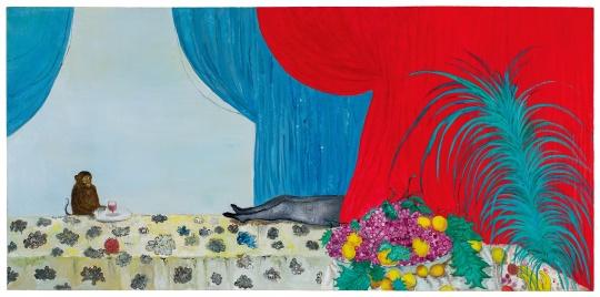 段建宇 《猴子、腿、红色布帘》 120×250cm 油彩画布 2007  流拍