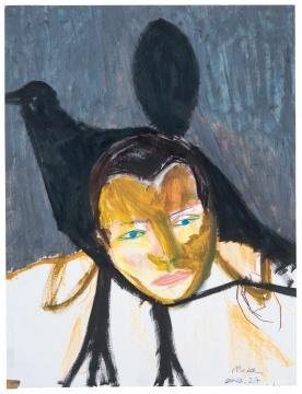 马轲 《鸟人》63.5×68.3cm 布面油画 2002  流拍