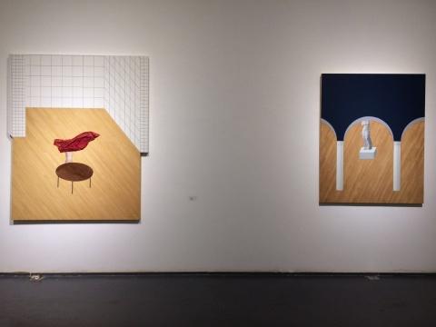 黄一山2016年创作的《掀桌布的裸女》、《以乳为眼之维纳斯》持续对画面构成材料的关注