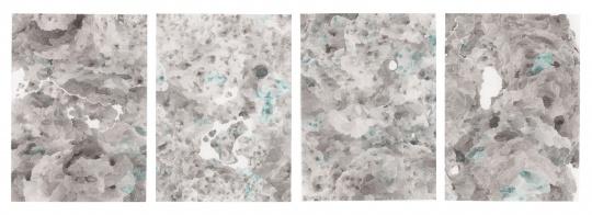 《东山google》78.7X109.2cmx4 墨,水彩纸 2017